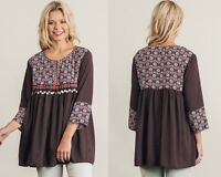 Umgee Burgundy Mix Print Tunic Trinket Trim Boho Peasant Top Small Medium Large