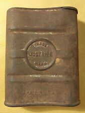 Antique Just-Rite Justrite Carbide Coal Miner Pocket Tin Flask Can