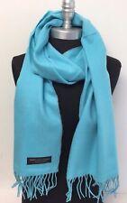 New Women Fashion 100%Cashmere Scarf Solid Sky Blue Scotland Warm Wool Wrap Soft