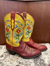 Justin Cowboy Boots Womens Red & Yellow Leather Boots With Flower Stitching 7.5B