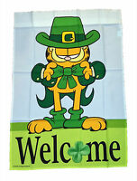 """GARFIELD ST. PATRICK'S DAY WELCOME FLAG~LARGE 28""""x40"""" ~NEW"""