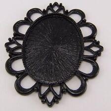 4pcs Vintage Black Tone Alloy Lace Cameo Setting 40*30mm Pendant Charm 03179