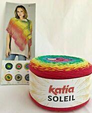 Katia SOLEIL #102 Rainbow Yarn Cake 200g Striping +2 Shawl Patterns Crochet Knit