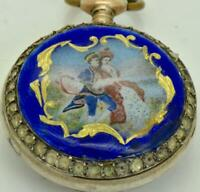 Rare antique Swiss silver,pearls&enamel ladies pendant watch.FOR REPAIR.