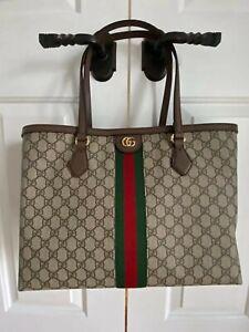 Gucci Ophidia GG Medium Tote Beige & Ebony NWT Gift Receipt Authentic