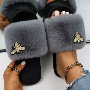 Faux Fur Slides  Insect Applique Designer Slides Women's Custom Shoes Summer New