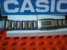 Casio Watch Band GS-1300 GIEZ Bracelet Steel and Black Resin w/Push Button buckl