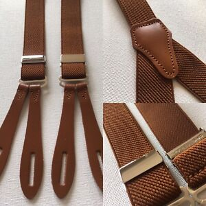 """Vintage 1940s Pattern Button Braces Leather 25mm U.K Made Rust Brown Twill 40"""""""