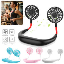 Portable Dual Cooling USB Rechargeable Neckband Fan Lazy Neck Hanging Sport Fan
