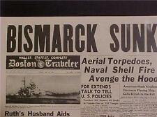 VINTAGE NEWSPAPER HEADLINE ~WORLD WAR 2 NAZI SHIP BISMARCK BATTLESHIP SUNK WWII
