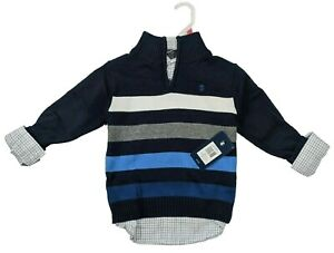 IZOD Boys Sweater and Plaid Shirt 2-pc Set XS S M L XL Navy Red Holiday