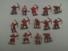 Essex 28 mm Medieval arqueros X 14 parte Pintado Die Cast Metal Figuras v.g.c.