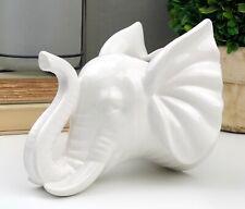 White Elephant Faux Taxidermy Porcelain Wall Planter Modern Farmhouse Decor