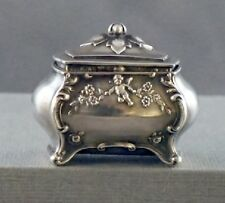 RARE ANTIQUE STERLING SILVER REPOUSSE RING BOX - HALLMARKED