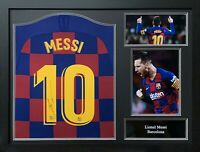 FRAMED LIONEL MESSI SIGNED BARCELONA 2019/20 FOOTBALL SHIRT COA & PROOF LA LIGA