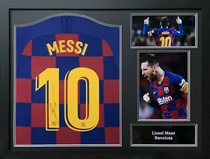 FRAMED LIONEL MESSI SIGNED BARCELONA 2019/20 FOOTBALL SHIRT COA & PROOF LA LIGA