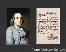 Benjamin Franklin & Facsimile of 1775 Letter to An Enemy - Matted Prints