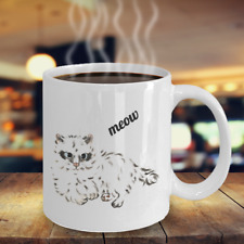 Funny Cat Mug - meow - 11 OZ ceramic Coffee Mugs - unique gifts to cat lovers