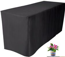 6' ft. Fitted Black Polyester Table Cover Trade show Booth DJ Tablecloth Wedding