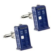 TARDIS CUFFLINKS Dr Who Police Phone Box 3D Blue Enamel w GIFT BAG Sci-Fi Fan