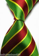 New Classic Stripes Green Red Yellow JACQUARD WOVEN 100% Silk Men's Tie Necktie