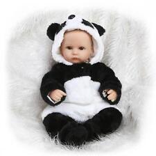 18'' Handmade Baby Girl Doll Silicone Vinyl Reborn Newborn Dolls + Panda Clothes