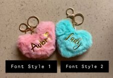 personalized furry heart key chains