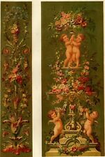 Décoration Ornement Fleur & angelots Puttis - Lithographie originale XIXè