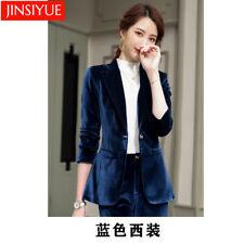 Women Velvet Suits 2 Piece Office Ladies Pants Suit Formal Business Blazer