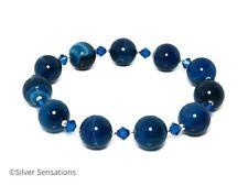 Blue Stripey Banded Agate, Swarovski Crystals & Sterling Silver Stretch Bracelet
