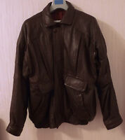 Vintage Mens 1970's Dark Brown Leather Jacket 	Bomber/Harrington/Biker