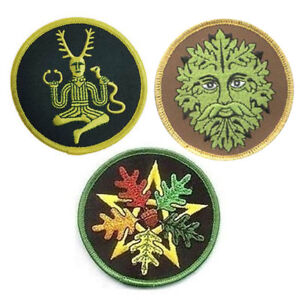 Pagan Patch Trio Set of 3 NEW Embroidered Patches Cernunnos Green Man Pentagram