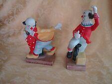 Pair Vintage Porcelain Circuses Clown Figurines ~ Red & Yellow Made in Taiwan