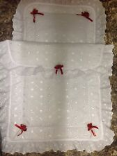 Dolls Broderie anglaise silver cross pram quilt and pillow with roses