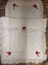 Puppen Broderie Anglaise Silver Cross Kinderwagen Decke und Kissen mit Rosen