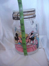 Vtg Anchor Hocking Mickey Minnie Mouse Goofy Donald Daisy Duck Wire Canister Jar