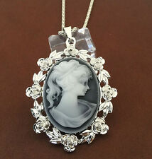White Gold Plated Grey Cameo with Roses Pendant Chain Sweater Necklace