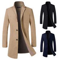 UK Vintage Men's Trench Coat Winter Warm Long Jackets Single Breasted Overcoats