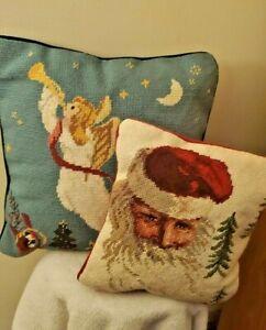 Needlepoint Christmas Pillow ANGEL & SANTA Wool Velvet Set 2 Pillows
