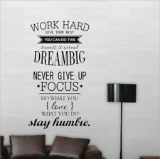 """AU Inspirational """"Work Hard Dream Big"""" Wall Stickers Removable PVC Decal Quote"""
