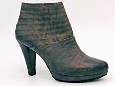 Paul Green Schuhe Plateau Leder Stiefeletten Größe 37,5 UK 4,5 Grau Absatz 95 mm