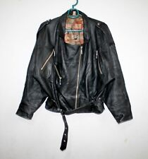 LEATHER BIKER Black JACKET LADIES WOMEN RETRO VINTAGE Punk Size UK 12 EU 40-42