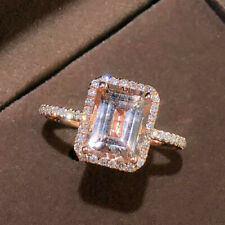 Natural Pink Morganite Diamond Engagement Halo Ring Solid 14K Rose Gold Jewelry