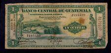 GUATEMALA  1  QUETZAL 1945  PICK # 14b  VG.