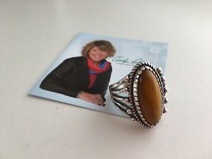 Carolyn Pollack Tiger Eye Sterling Silver Ring Size US 10, AU T