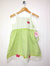 NWT Coney Island Toddler Girl Gingham Strawberry Butterfly Dress Sz 5-6 Headband