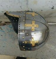crusader face plate Spectacle Helmet With Chainmail Aventail Steel