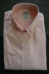 NWOT Brooks Brothers Orange University Stripe 15.5-32 Soho Extra Slim MSRP $140