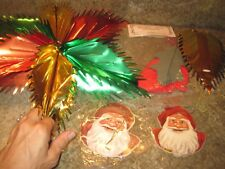 Vintage Lot of 5 Taiwan Christmas Decorations Santa Ornaments Mylar Decor, etc.