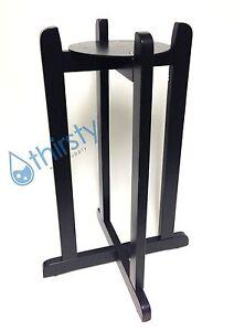 """27"""" Water Crock Floor Stand Porcelain Vase Wood Black Dispenser Base H2O Bottle"""